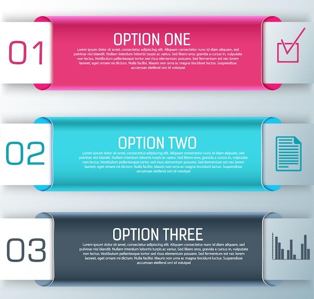 Tres elegantes banners horizontales con títulos y pasos para crear presentaciones vector gratuito