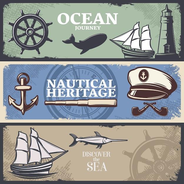 Tres estandartes náuticos de colores horizontales con títulos de viaje náutico patrimonio náutico y descubre el mar vector gratuito