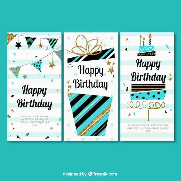Tres felicitaciones de cumpleaños en estilo retro  Vector Gratis