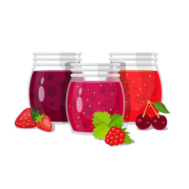 Tres frascos de cristal de mermelada con bayas vector gratuito