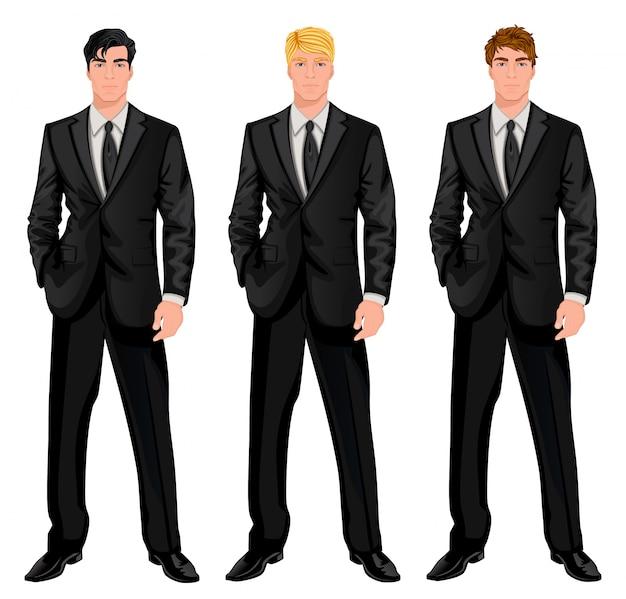 Tres hombres con traje negro vector gratuito