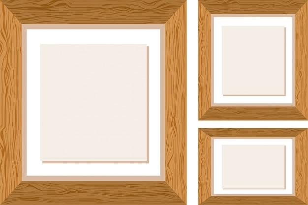 Tres marcos de madera en diferentes tama os descargar vectores premium - Marcos de madera ...