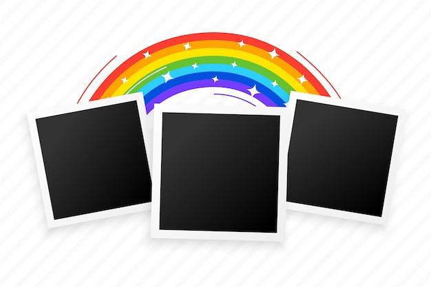 Tres marcos de fotos con diseño de fondo de arco iris vector gratuito