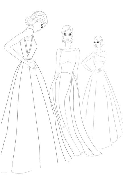 Tres Modelos En Boceto De Vestidos De Alta Costura Vector