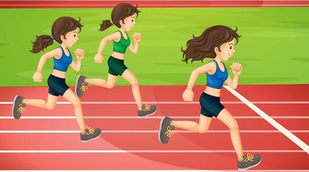 Tres mujeres corriendo en la pista vector gratuito