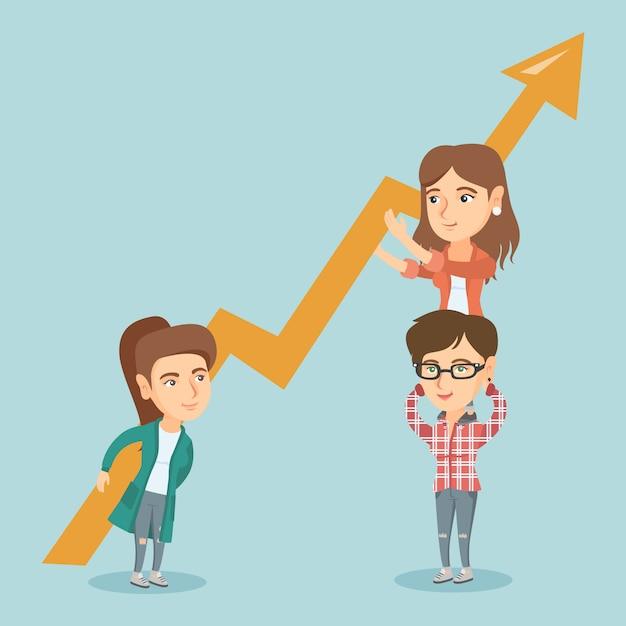 Tres mujeres de negocios jóvenes con gráfico de crecimiento. Vector Premium
