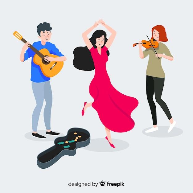 Tres músicos tocando la guitarra, el violín y bailando en la calle vector gratuito