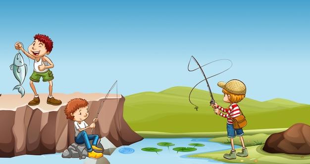 Tres niños pescando en el río vector gratuito