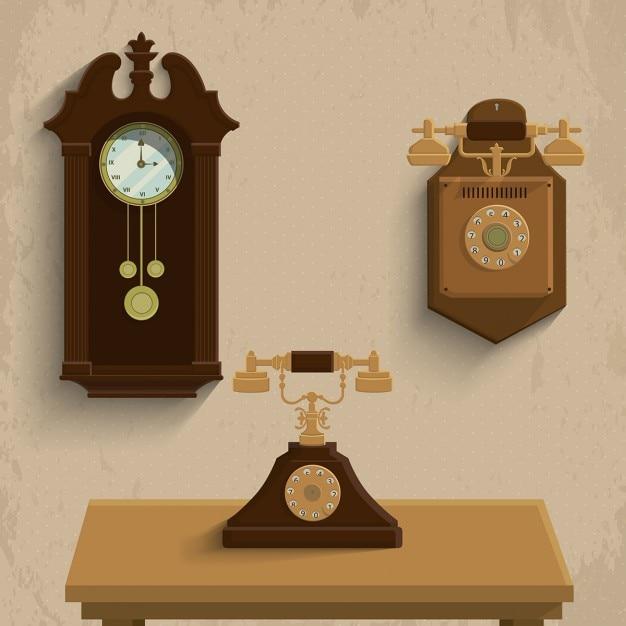 Tres objetos vintage descargar vectores gratis - Objetos vintage ...
