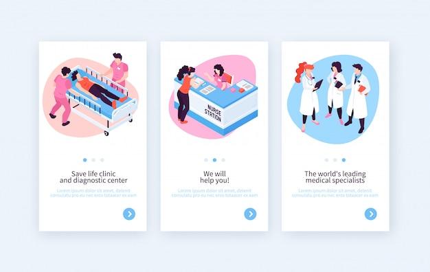 Tres pancartas verticales con imágenes hospitalarias de especialistas médicos y personajes de recepcionista con texto editable ilustración vectorial vector gratuito