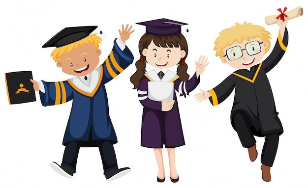Tres personas en bata de graduación vector gratuito