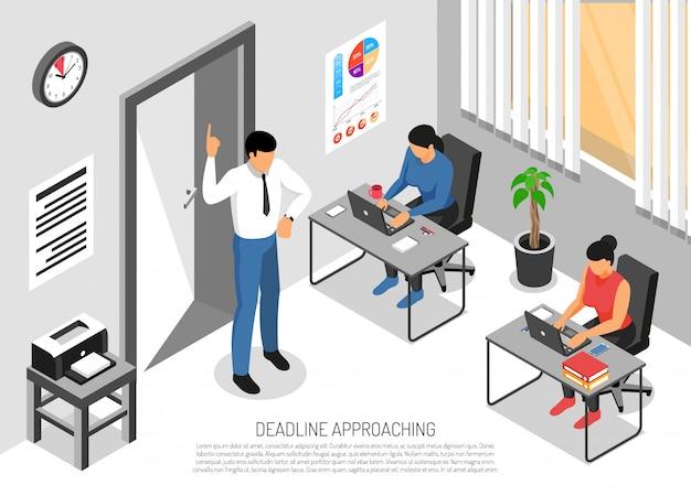 Tres personas que trabajan en la oficina antes de la fecha límite 3d vector gratuito