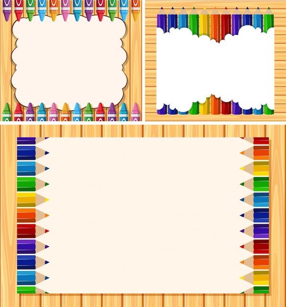 Tres plantillas de borde con lápices de colores   Descargar Vectores ...