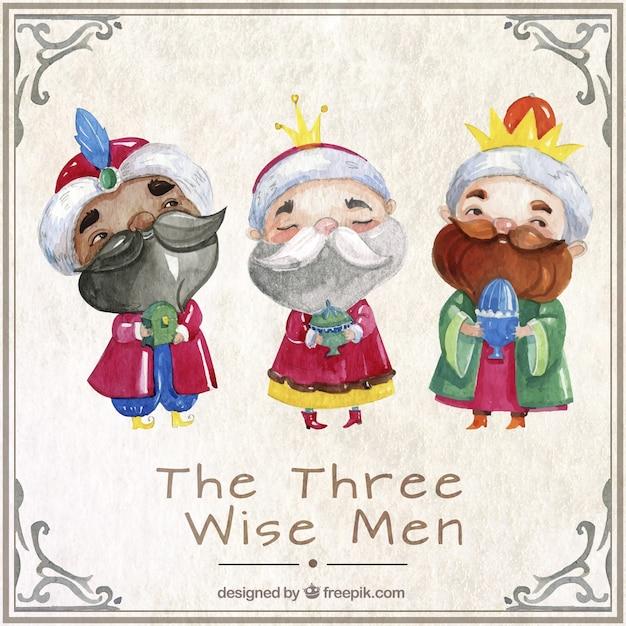 Los Tres Reyes Magos En Estilo Acuarela Descargar Vectores Premium