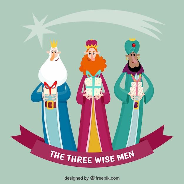 Los Tres Reyes Magos En Estilo Dibujos Descargar Vectores Gratis