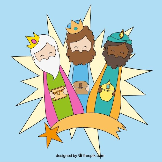 Tres Reyes Magos Con Estrella Fugaz Descargar Vectores Gratis