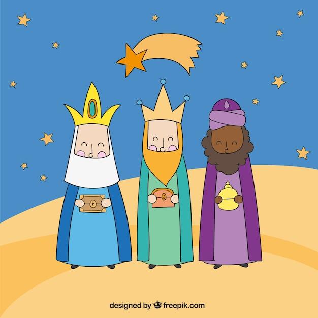 Imagenes Tres Reyes Magos Gratis.Tres Reyes Magos Por La Noche Descargar Vectores Gratis
