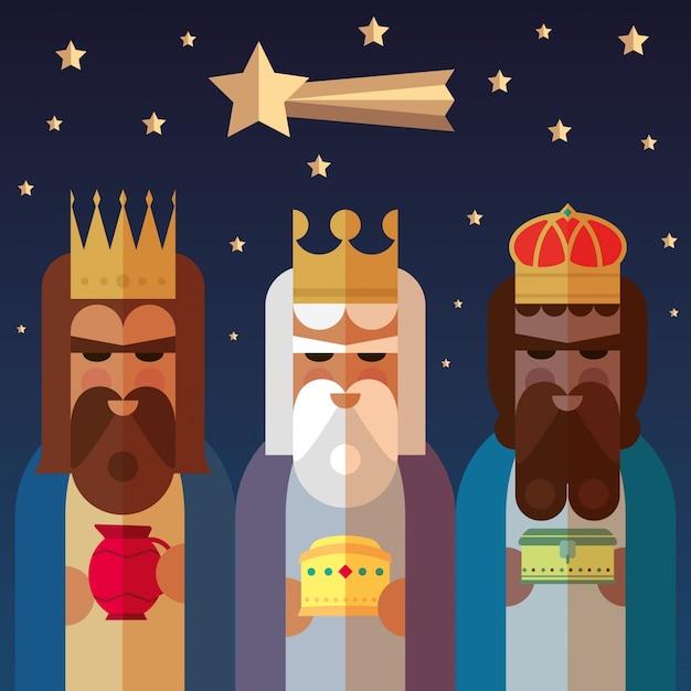 Los tres reyes de oriente. ilustración sabia de los hombres vector gratuito