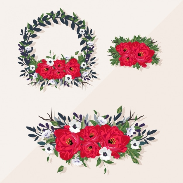 Tres románticos marcos florales   Descargar Vectores gratis