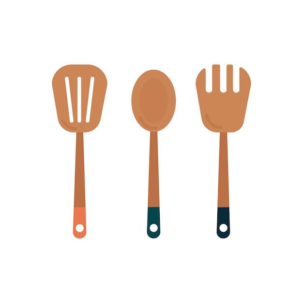 Tres utensilios de cocina de madera gráfico vector gratuito