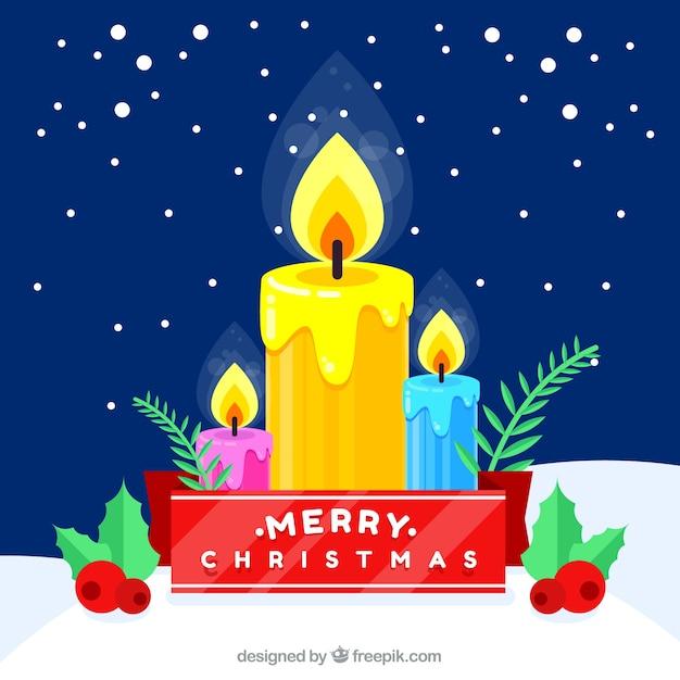 Tres Velas De Navidad En La Nieve Encendidas Descargar Vectores Gratis - Velas-de-navidad