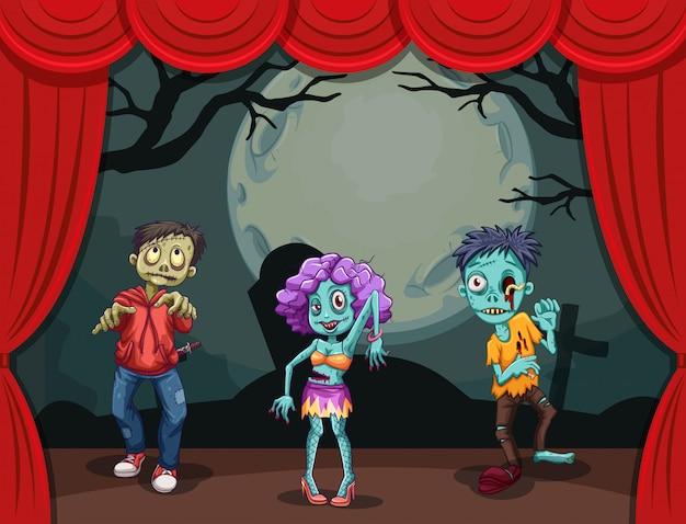 Tres zombies en el escenario Vector Premium