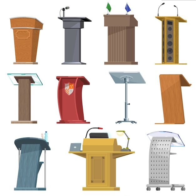 Tribuna podio de vector para presentación de discurso de orador en conferencia de negocios conjunto de comunicación de seminario de tribuna tribuna de debate público en el escenario conjunto de iconos aislados Vector Premium