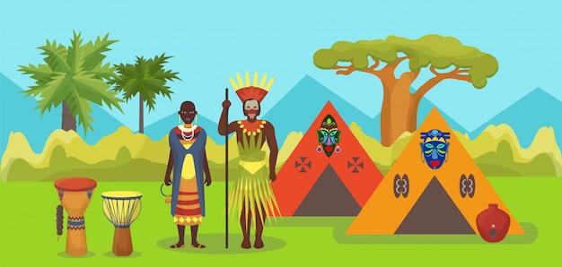 Tribus aborígenes africanas, nativas de piel negra pareja personas hombre y mujer ilustración. retratos de aborígenes africanos con hogar, máscaras y tambores. Vector Premium