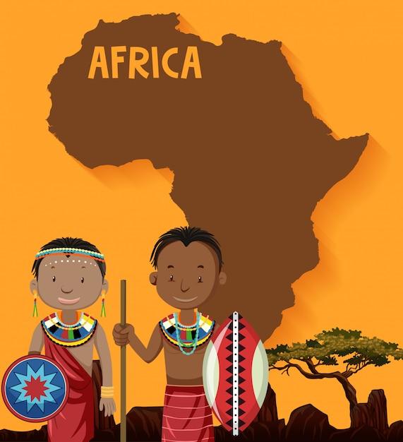 Tribus africanas nativas con mapa vector gratuito