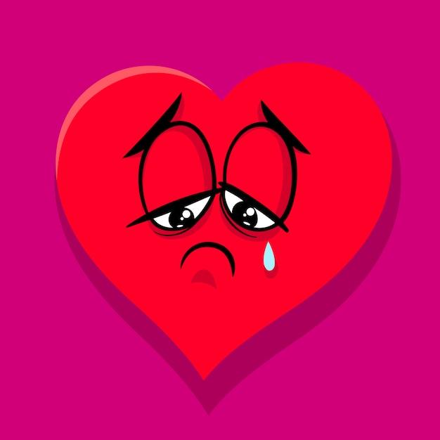 Triste Ilustración De Dibujos Animados De Corazón Roto