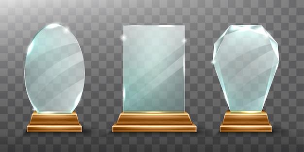 Trofeo de cristal o premio ganador de acrílico realista vector gratuito