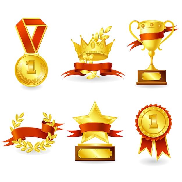 Trofeo y emblema del premio. vector gratuito