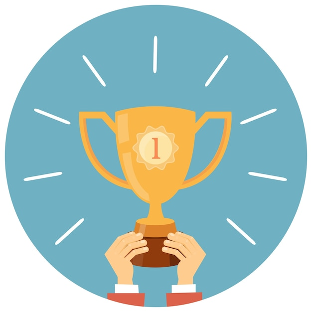 Trofeo, manos sosteniendo la ilustración de vector de copa de ganador en estilo plano vector gratuito
