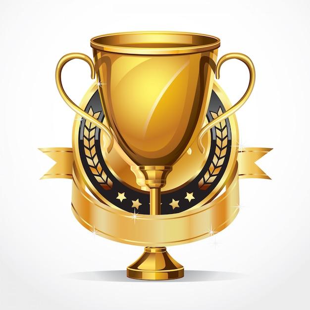 Trofeo de oro y medalla. Vector Premium