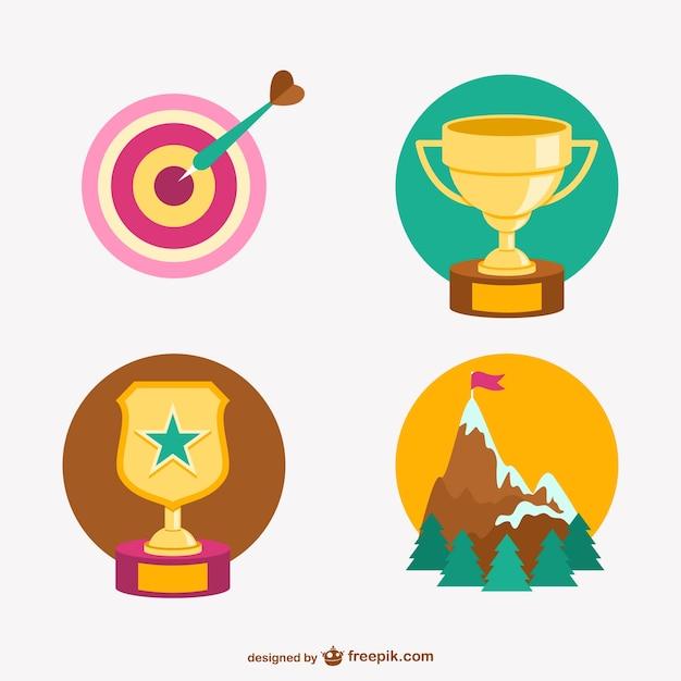 Trofeos y logros vectoriales vector gratuito