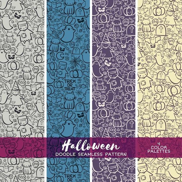 Truco o doodle de halloween patrón sin fisuras. fondo abstracto del ...