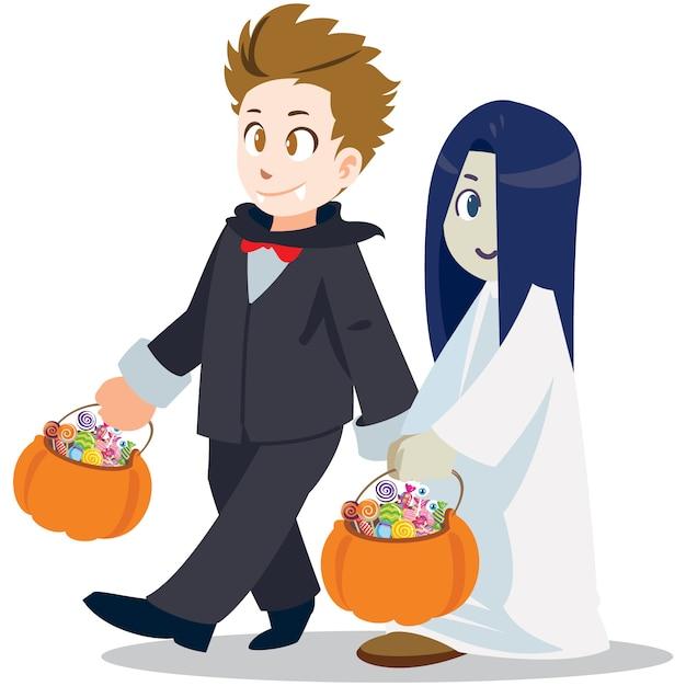 Truco o trato . estilo de dibujos animados de halloween Vector Premium