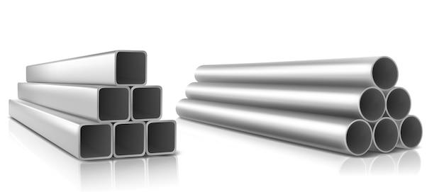 Tuberías apiladas, cuadradas y redondas de acero recto, tuberías de plomería metálicas o de pvc. vector gratuito