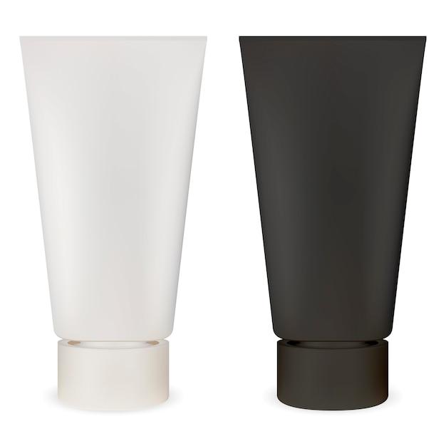 Tubo cosmético. maqueta de envase de plástico. lubricante Vector Premium