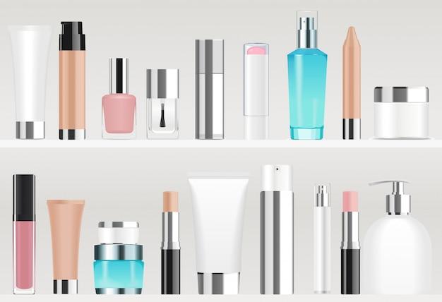 Tubos cosméticos en estantes. colores diferentes Vector Premium