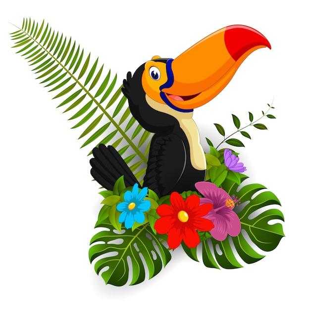 Tucan De Dibujos Animados Con Flores Tropicales Descargar Vectores