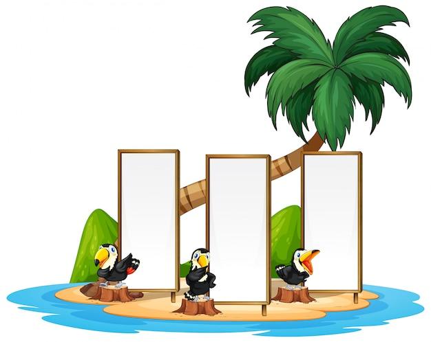 Tucán con isla de fram vector gratuito