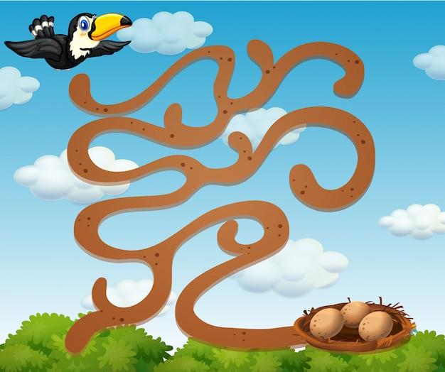 Un tucán que encuentra la plantilla de juego de nido vector gratuito
