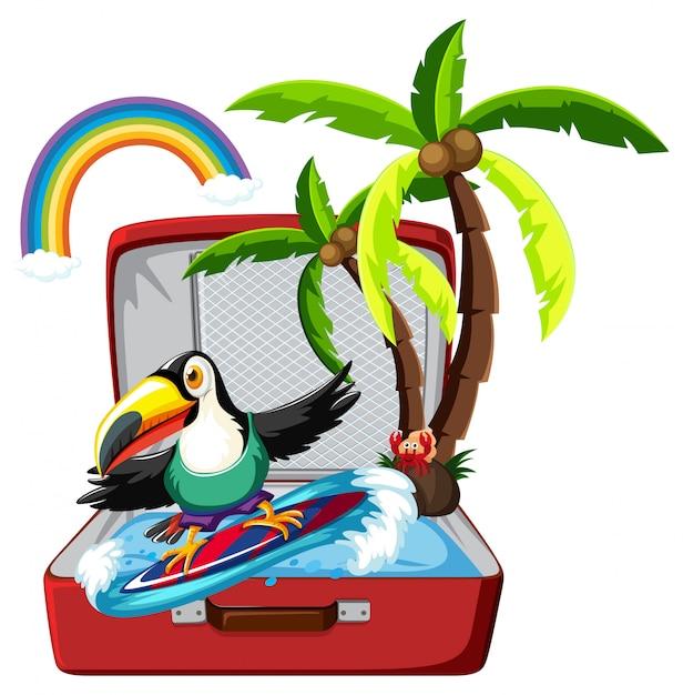 Tucán surfeando en maleta vector gratuito