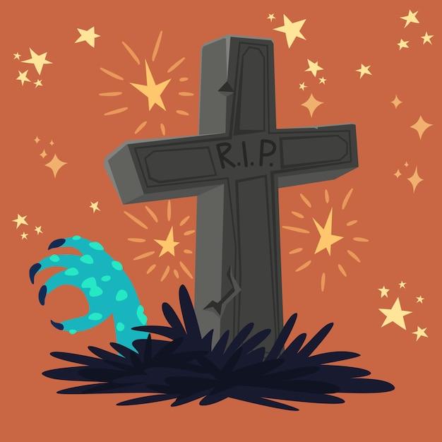 Tumba de cementerio de halloween Vector Premium