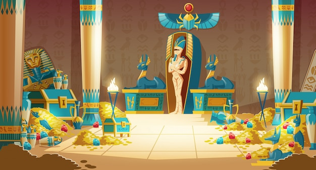 Tumba egipcia - sarcófago faraón con momia, tesoro y otros símbolos de la cultura. vector gratuito