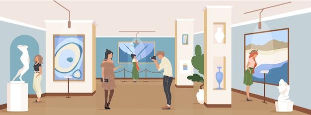 Turista en color plano de exposición de galería. escaparate de obra maestra contemporánea. gente en museo. visitantes de la galería de arte personajes de dibujos animados en 2d con instalación de obras de arte en el fondo Vector Premium