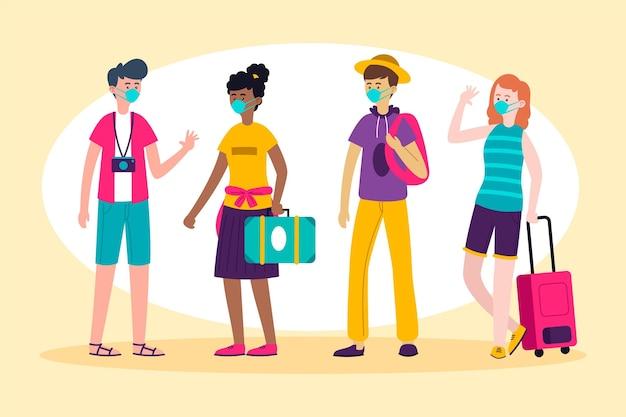 Turistas con ilustración de mascarillas Vector Premium