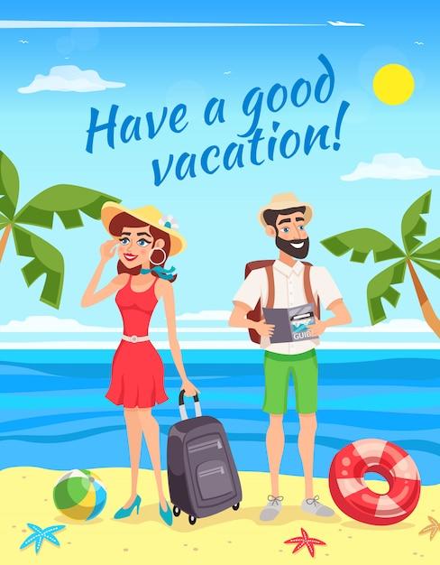 Turistas durante la ilustración de vacaciones de verano vector gratuito