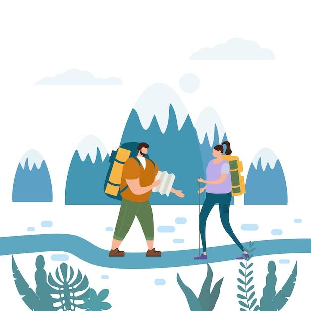 Turistas linda pareja realizando actividad turística al aire libre aventura viajes Vector Premium